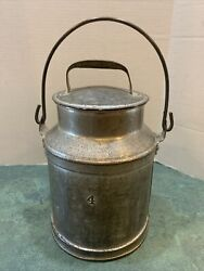Antique 4 Qt. Heavy Tinned Metal Cream/milk Can With Bale Handle