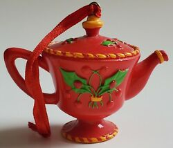 1997 Mary Engelbreit Ink Red Miniature Teapot Xmas Holly Decorative Ornament
