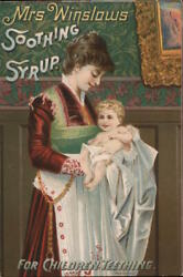 Advertising Mrs. Winslows Soothing Syrup For Childrens Teething Postcard Vintage