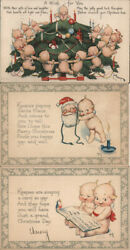 Xmas 1921 Rose Oand039neill Set Of 3 Christmas Kewpies Gibson Postcard 1c Stamp