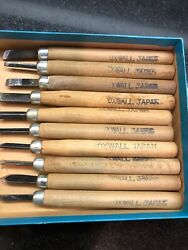 Oxwall Japan Wood Lathe Carving Tools Vintage 10-piece Chisels Pre-owned 5-inch