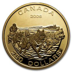 2006 Canada Proof Gold 250 Dog Sled Team No Outer Box - Sku230681