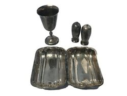 Lot Of Wa Rogers Silverplate Chalice/cup, Salt, Pepper Shakers, Newburyport Tray