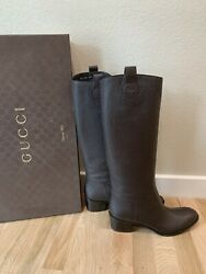 New Women's Brown Leather Tall Riding Boots Sz 40.5 Us 10.5 1100