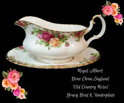 Royal Albert Bone China England Old Country Roses-gravy Boat W/underplate