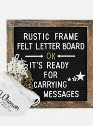 Felt Letter Board 10x10 inches with Rustic Wood Frame. Precut White amp; Gold Bags $30.29
