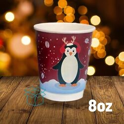 8oz Christmas Paper Coffee Cups - Festive Double Walled Takeaway Cups