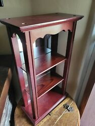 Vintage Wood Mirrored Wall Shelf Open Curio Display Cabinet Table Top Mount