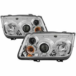Spyder 5012265 Halo Led Projector Headlights Pair Chrome For 99-05 Vw Jetta New