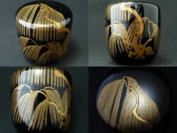 Japanese Traditional Lacquer Wooden Tea Caddy Willow Makie Natsume 405