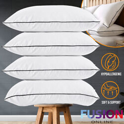 2 PCS White Goose Down Feather Bed Pillows Sleeping Pillow Queen King Standard
