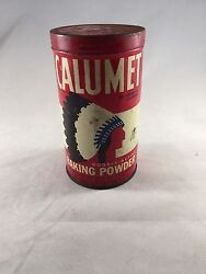 Vintage Calumet Baking Powder / Spice / Tin Litho Can Native American Indian