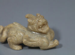 Han Dy. Old Chinese White Jade Carved Strong Dragon Bixie Beast Figure Statue