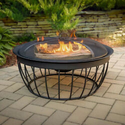 Outdoor Fireplace Fire Pit Bowl Round 30 In Wood Burning Black Steel Metal Frame