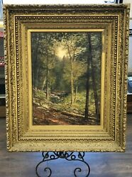 Antique C.h. Shearer Stream Landscape Oil Painting Signed And Dated