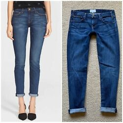 Current Elliott The Roller In Pacific Size 25 Rolled Jeans Midrise Dark Wash
