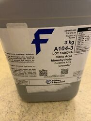 Fisher Chemical Citric Acid Monohydrate 3kg. Bottle Unopened. Ships Free