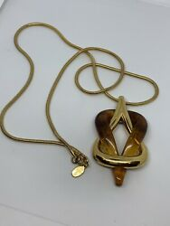 Rare Givenchy 1979 Vintage Gold-tone Coil Chain And Modern Lucite Design Pendant