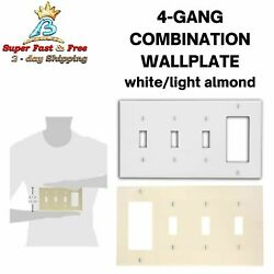 4-gang Wallplate W/ 3-toggle And 1-decora Switches Light Almond/white 1/10-pack