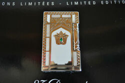 S.t.dupont Gas Lighter Taj Mahal Collection Gold White Green Rectangle Lg2445