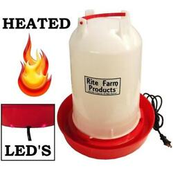 3.7 Gallon Heated Rite Farm Products Gravity Poultry Waterer, 6ft Cord Chicken