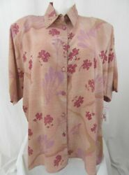 Beverly Rose Usa Size 4x Antique Rose Short Sleeve Button Front Tunic