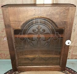 Vintage Primitive Wood Spice Box Wall Cupboard Pantry Cabinet Etched Glass Door