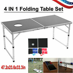 4 In 1 Multifunction Game Folding Table Outdoor Lawn Game Set Beer Desk Portable