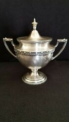 The Wallingford Essex Silverplated 5 1/2 Tall Footed Sugar Bowl With Lid
