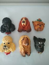 Bossons Dog Chalkware Lot Of 8 - Poodle, Yorkie, Afghan, Scottie, Basset 1960's