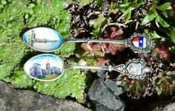 2 X Vintage Enamel Sterling Silver Spoon Texas Indiana State Capitol 800 925