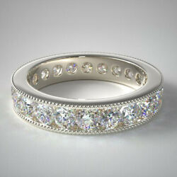 Round Cut 14k White Gold 2.00 Ct Real Diamond Engagement Eternity Bands Size 7 8