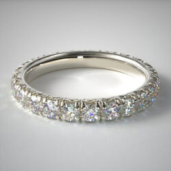 Round Cut 2.00 Ct Real Diamond Engagement Eternity Bands 14k White Gold Size 5 6
