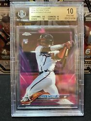 2018 Topps Chrome Ronald Acuna Jr Pink Refractor Rc 193 Pristine Beckett 10 Bgs