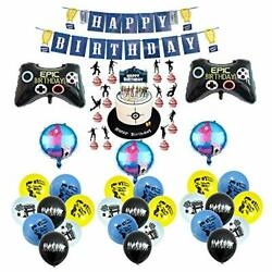 Fortnite Video Game Happy Birthday Party Decorations Supplies - Balloons Banner