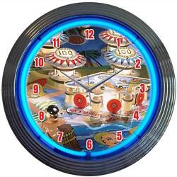 Old Style Pinball Machine Arcade Game Room New Blue Neon Clock Fast Ship