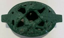 Vintage Cast Iron Green Pinecone Stovetop Steamer / Wood Stove Humidifier W/lid