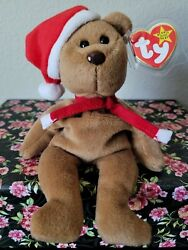 ☆rare☆ 1997 Ty Holiday Teddy Beanie Baby® Style 4200 Pvc Black Eyes Brown Nose