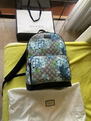 Nwt Gg Supreme Monogram Blooms Canvas Large Navy Backpack Bag New Tags