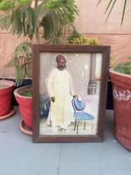 Antique Artist Fine Oil Painting Indian Royal Standing Man In Beard And Turbon