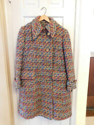 Vtg Mod 1960s Modelia Long Coat Don Simonelli Lord And Taylor Woven Tweed Lined