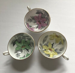 3 Clarence Bone China England Tea Cups Pink, Green Yellow Flowers