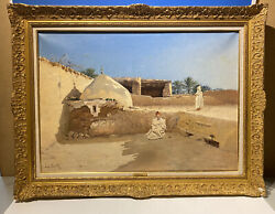 French Antique Orientalist Oil/canvas By Emile Boivin/signed