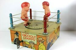 Vintage 1930's Marx Tin Litho Celluloid Wind Up Knockout Champs W/ Box - Rare