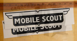 Mobile Scout Vintage Travel Trailer Repro Decal Reproduction Black And White Set/2