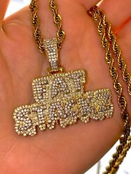 Custom Fat Stacks Money Ice Menand039s Womens Icy 14k Gold F Pendant Charm Rope Chain