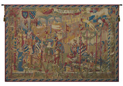 A La Cour Du Roy French Medieval Decorative Woven Tapestry Wall Hanging