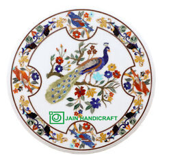 24 Antique Marble Coffee Center Table Top Pietra Dura Living Room Inlay Peacock