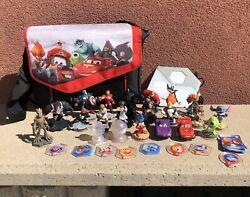 Disney Infinity Lot Figures And Game Pieces With Portal And Bag 31 Total Pieces