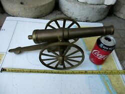 Vintage In Brass Beautiful Barrel Cannon Nice Patina Long 16 Heavy 1530 Grams.